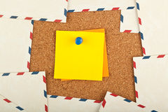 Postal y nota del recordatorio Fotografía de archivo