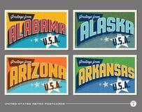 Postales de la tipografía del vintage de Estados Unidos stock de ilustración