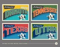 Postales de la tipografía del vintage de Estados Unidos Fotos de archivo libres de regalías