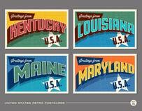 Postales de la tipografía del vintage de Estados Unidos Fotos de archivo