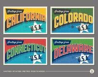 Postales de la tipografía del vintage de Estados Unidos
