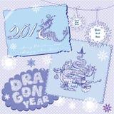 Postales del Año Nuevo ilustración del vector