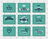 Postales del feliz cumpleaños fijadas Imágenes de archivo libres de regalías