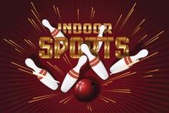 Postales promocionales de la plantilla del vector Deportes interiores bowling Foto de archivo