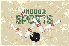 Postales promocionales de la plantilla del vector Deportes interiores bowling Fotos de archivo