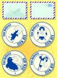 Postales que representan pájaros y letras ilustración del vector