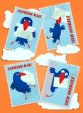 Postales que representan pájaros y letras stock de ilustración