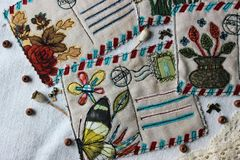 Postales retras del vintage de la materia textil foto de archivo libre de regalías
