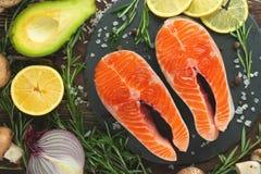 Postas frescas deliciosas, salmões, truta Alimento limpo e saboroso fotos de stock royalty free