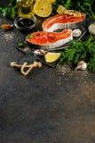 Postas salmon cruas foto de stock