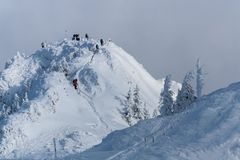 Postavaru山在冬天,罗马尼亚 免版税图库摄影