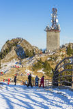 Postavaru Peak with telecom antenna, Romania Royalty Free Stock Photo