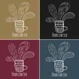 postawił herbaty kawy Sen przychodzą prawdziwego tekst Ilustracja Wektor