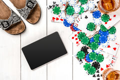 Postblog sociale media pook De lay-outmodel van het bannermalplaatje voor online casino Houten witte lijst, hoogste mening aangaa Royalty-vrije Stock Fotografie