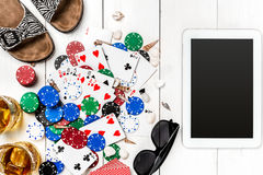 Postblog sociale media pook De lay-outmodel van het bannermalplaatje voor online casino Houten witte lijst, hoogste mening aangaa Royalty-vrije Stock Afbeelding