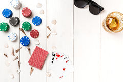 Postblog sociale media pook De lay-outmodel van het bannermalplaatje voor online casino Houten witte lijst, hoogste mening aangaa Stock Foto