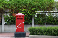 Postbox bangkok. Red postbox on footpath bangbox thailand Stock Photos