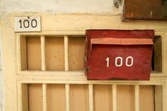 postbox czerwień textured rocznik ścianę Zdjęcia Royalty Free
