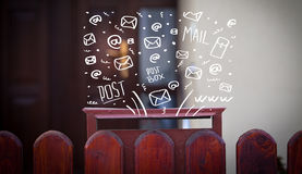 Postbox with hand drawn mail icons Stock Image