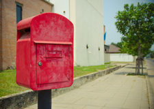 Postbox obok drogi Obrazy Royalty Free