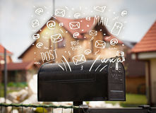 Postbox with white hand drawn mail icons Royalty Free Stock Photos