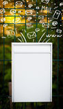 Postbox with white hand drawn mail icons Royalty Free Stock Images