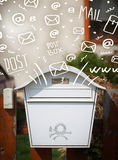 Postbox with white hand drawn mail icons Royalty Free Stock Image