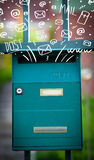 Postbox with white hand drawn mail icons Stock Photos