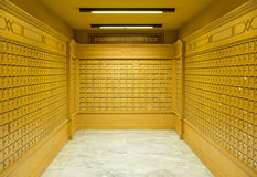 Postboxes. Faculty post office boxes room Royalty Free Stock Image