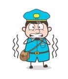Postboy de tremblement dans le vecteur de crainte illustration de vecteur