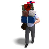 The postboy has a lot of gifts for you. 3D Royalty Free Stock Photos