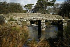 Postbridge clapper bridge Royalty Free Stock Images