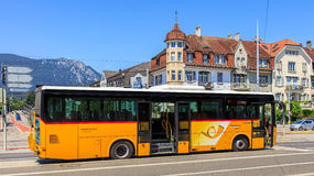 PostBus in the city of Solothurn, Swizerland Royalty Free Stock Photos