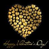 Postc d'or abstrait du jour de Valentine de coeur illustration libre de droits