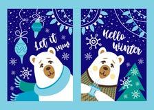 Postcadr ed illustrazione di Natale con gli orsi bianchi Insieme della cartolina di Natale fotografia stock libera da diritti