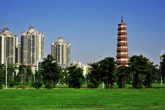 Postcard. The pagoda that between the green grass and the blue sky is very beatiful Royalty Free Stock Photo