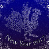 Postcard with abstract contour rooster the symbol of the new 2017 years on the background of snowflakes with lettering , silver ou Royalty Free Stock Photography