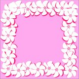 Postcard abstract pink background white flowers with pink stroke. Postcard abstract pink background white flowers with bright pink stroke and shadow are placed Stock Photo