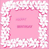 Postcard abstract pink background white flowers with pink stroke words happy birthday. Postcard abstract pink background white flowers with bright pink stroke Royalty Free Stock Photo