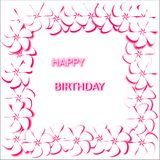 Postcard abstract white background with white flowers with a pink stroke words happy birthday. Postcard abstract white background with white flowers with bright Stock Photo