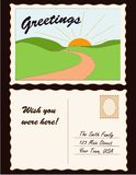Postcard, Add Location. Copy space to add your own message and address on the backside or photo to the front of this retro postcard Royalty Free Stock Photo