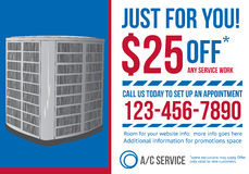 Postcard advertisement template for HVAC company. HVAC air conditioning contractor postcard with coupon discount advertisement Royalty Free Stock Photography
