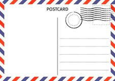 Postcard. Air Mail. Postal card illustration for design. Travel vector illustration