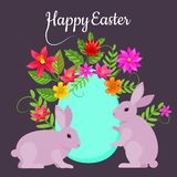 Postcard allusive to Easter, with symbolic elements such as bunny, egg and flowers. Illustration. Digital art stock illustration