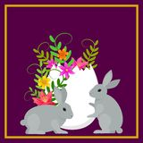 Postcard allusive to Easter, with symbolic elements such as bunny, egg and flowers. Illustration. Digital art vector illustration