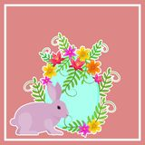 Postcard allusive to Easter, with symbolic elements such as bunny, egg and flowers.  With free space to integrate dedication or pe. Postcard allusive to Easter royalty free illustration