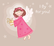 Postcard with an angel. Vector illustration - a funny little angel is a gift stock illustration