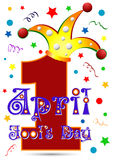 Postcard on April 1 - April Fool's day. Number One  in jester hat Royalty Free Stock Image