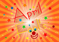 Postcard on April 1 - April Fool's day. Orange striped background Royalty Free Stock Images