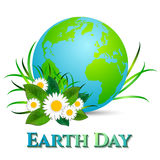 Postcard on April 22 - Earth day. Globe with grass and camomiles on white Royalty Free Stock Image